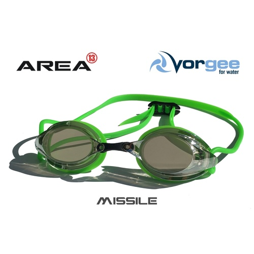 Vorgee Missile Swimming Goggle Mirrored Lens Lime Green, Swimming goggles