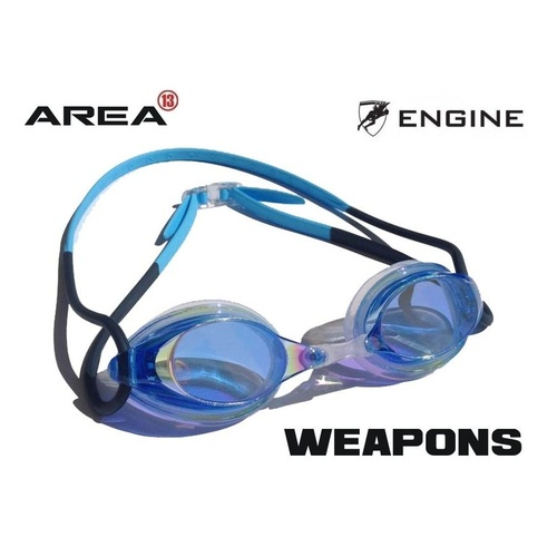 ENGINE WEAPON FISHTAIL BLUE SWIMMING GOGGLES, ENGINE GOGGLES, SWIMMING GOGGLES